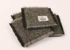 Set of 4 Coasters Harris Tweed Traditional by MyScottishHome