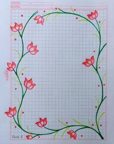 Front Page Design, Page Borders Design, Notebook Drawing, Notebook Art, Rangoli Borders, Rangoli Border Designs, Molduras Vintage, Paper Art Design, Easy Drawings Sketches