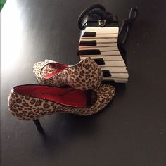 SHOES Animal print open toe pump with 4 inch heel very comfy on Trend and Fashionsble  faux velvet material HERSTYLE Shoes