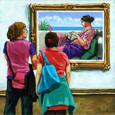 Women viewing Classic painting at art museum archival print from original oil painting on Etsy, $18.00
