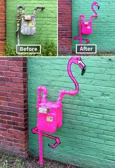 Dekoration - Decoration ideas - Deko ideen street art pink flamingo Outdoor Trash Cans and Ash Bins 3d Street Art, Murals Street Art, Street Art Graffiti, Amazing Street Art, Best Street Art, Art Mural, Street Artists, Urban Street Art, Graffiti Artists