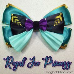 Regal Ice Princess Bow $11.00 – $13.00 Aqua, Teal, Purple, Ice Princess, Disneybound, Painting Patterns, Sequins, Bows, Mouse Ears
