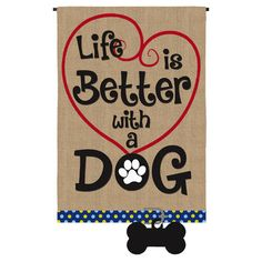 Evergreen Flag Life is Better with Dog Garden Burlap Flag Burlap Garden Flags, Burlap Flag, Burlap Fabric, Burlap Art, Burlap Signs, Wooden Signs, Evergreen Flags, Burlap Projects, Gatos