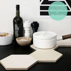 hex trivets from RK Design // plywood