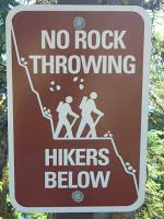 """No Rock Throwing"" sign on Cleetwood Cove Trail"