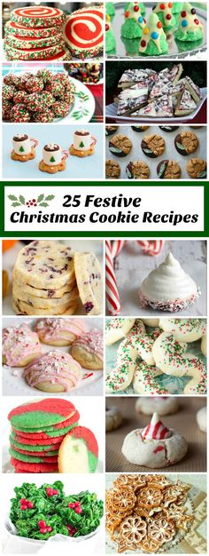 25 of the most Festive Christmas Cookie Recipes: perfect for holiday cookie platters and cookie exchanges. 25 of the most Festive Christmas Cookie Recipes: perfect for holiday cookie platters and cookie exchanges. Holiday Cookies, Holiday Desserts, Holiday Baking, Holiday Treats, Holiday Recipes, Dinner Recipes, Christmas Recipes, Holiday Foods, Dessert Recipes