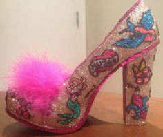 Confessions of a glitter addict: The finished Retro Tattoo Shoe (I call her Lydia)