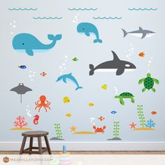 Ocean Wall Decal, Ocean Decal, Ocean Nursery Decal, Shark Decal, Orca Decal, Whale Decal, Sea Turtle Decal, Ocean Life Decal by MaxwillStudio on Etsy https://www.etsy.com/listing/278713038/ocean-wall-decal-ocean-decal-ocean