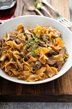 """This One-Pot Beef Stroganoff will be your new favorite answer to, """"What's for dinner?"""" This is cooked all in one pot to make cleanup easier. Pork Recipes For Dinner, Pasta Recipes, Beef Recipes, Cooking Recipes, Pasta Sauces, Skillet Recipes, Top Recipes, Yummy Recipes"""