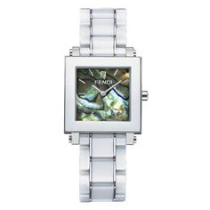 FENDI  Fendi Abalone Square Ceramic Bracelet Watch    FENDI White Abalone Square Ceramic Bracelet Watch. Signature zucchino detail on dial.    • Abalone face   • Band length: 195mm.  • Dimensions: 30mm W x 30mm H.  • Quartz movement.  • Date function.  • Water-resistant to 5 ATM (50 meters).    FENDI Made in Switzerland.   Color - White  Full Fendi warranty for 2 years.   $1850  http://www.yslux.com/product.aspx?pf_id=YSFEN006