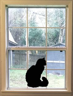 Large Stretching Black Cat Silhouette Vinyl Decal Cat Wall Furry - Vinyl decal cat pinterest