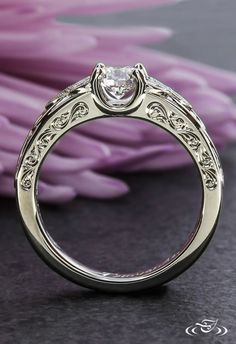 Scroll Engraving on our Trinity Knot Engagement Ring #GreenLakeJewelry