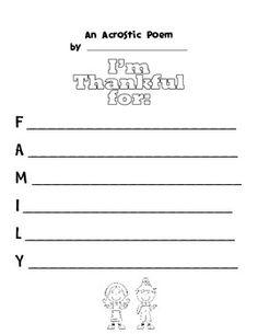 thanksgiving acrostic poem thanksgiving pinterest language