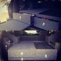 "Built this storage box for my Jeep Cherokee wj. It has two 10"" subwoofer boxes, waterproof ice chest area, two big slide out drawers and table. Storage compartments on both sides and can hold two ammo cans securely. It also can piece apart to access the s"