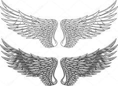 Wings illustration vector art illustration - the bottom, darker set looks very masculine Wing Tattoo Men, Wing Tattoo Designs, Angel Tattoo Designs, Life Tattoos, Body Art Tattoos, Small Tattoos, Tattoos For Guys, Note Tattoo, Tattoo Illustration