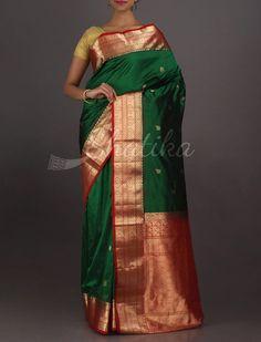 Ramya Green And Red Ornate Traditional #BangaloreSilkSaree