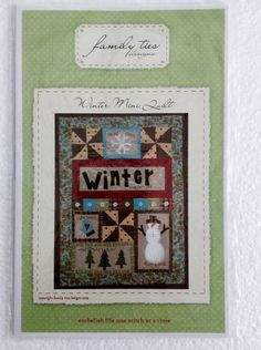 Snowman Winter Mini Wall Quilt Sewing Pattern UC FF by Vntgfindz