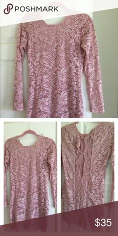 Pretty in Pink Lace Dress So pretty, all lace fully lined dress. Buttons all the way up the back . Stops mid thigh , worn once to an event. In perfect condition. Dresses Mini