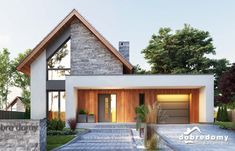 Marika - Dobre Domy Flak & Abramowicz Style At Home, Modern Farmhouse Exterior, Bungalow Exterior, Facade House, House Facades, House Exteriors, Home Fashion, Modern House Design, Exterior Design
