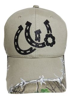NEW! Black Glitter Double Horseshoe Khaki/Camo Baseball Cap!  So Cute!  Order at www.shopspiritcaps.com