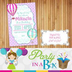 Up Up and Away Hot Air Balloon Invitation Printable Digital File