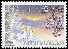 Joulupostimerkki 1999 3/3 - Jänikset ja linnut talvimaisemassa