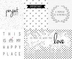 Free Printable Black & White Project Life Journal Cards from Ann's Miles Printable Cards, Printable Planner, Planner Stickers, Free Printables, Planner Pages, Life Planner, Happy Planner, Project Life Freebies, Project Life Cards