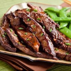 Thinly sliced Asian-style flank steak with ginger-balsamic marinade