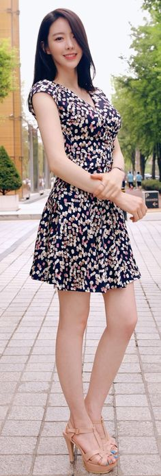 Luxe Asian Korean Fashion Candy Fit Navy Dress