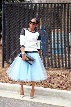 Modest Blue Tulle Skirt