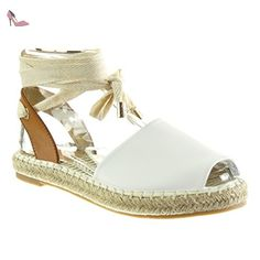 Angkorly - Chaussure Mode Espadrille Sandale ouverte femme corde noeud lacets Talon bloc 2 CM - Blanc - LX132 T 39 - Chaussures angkorly (*Partner-Link)