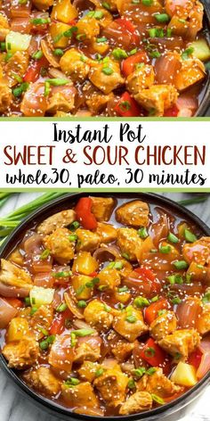 instant pot sweet and sour chicken is so easy and so quick to make. It's completely Paleo sugar free gluten free and made in less 30 minutes. The simplicity of this recipe makes it perfect for a weeknight meal that's family friendly or for meal prep. Soup Recipes, Whole Food Recipes, Healthy Recipes, Paleo Food, Healthy Soup, Crockpot Recipes Gluten Free, Paleo Diet, Healthy Hamburger, Whole 30 Chicken Recipes