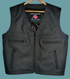 Leather vest MLV097 black top-grain cowhide front pic Custom made leather vests all styles,colors   sizes,