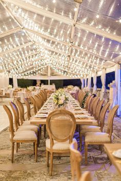 Clear tent reception lighting