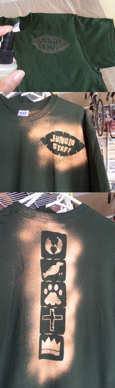 "We created our own staff shirts: cut out your design from a clear transparency, lay on t-shirt and spray with straight bleach. (We used an empty hairspray bottle.) Transparency cut-out can be wiped off and used again and again. We put ""Jungle Staff"" on the front and the pillar on the back. Each shirt will vary, as bleaching is not a precise art. :) And I would recommend doing this outside only, due to the strong bleach fumes."