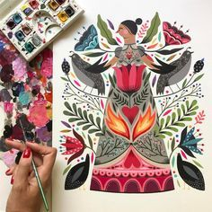 art and sketches Floral Illustrations, Illustration Art, Scandinavian Folk Art, Guache, Watercolor Paintings, Gouache Painting, Painting Tips, Abstract Paintings, Art Paintings