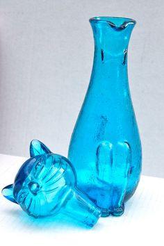 vintage Italian blue glass cat decanter // mid by RedTuTuRetro, $45.00