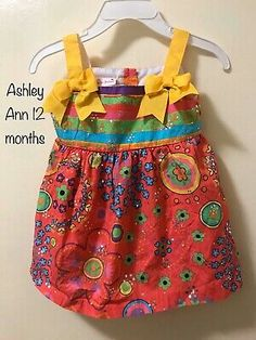 NWOT Ashley Ann 12 Month Baby Girl Colorful  Sundress & Bloomer #fashion #clothing #shoes #accessories #baby #babytoddlerclothing (ebay link) Ashley Ann, Girl Sleeves, Cute Bows, Baby Month By Month, Baby & Toddler Clothing, Tulle Dress, 12 Months, Colorful, Summer Dresses
