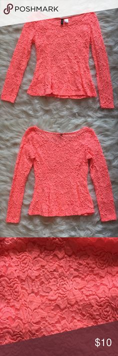 H&M Coral Lace Peplum Top H&M coral lace peplum top.                                                  Size S.                                                                                      Has been worn/washed a few times. H&M Tops