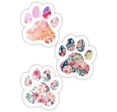 Floral Paw Print Trio Stickers