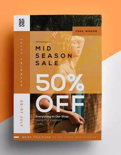 Fashion Flyer by micromove on - Visiten Karten 2020 Flugblatt Design, Book Design, Layout Design, Flyer Template, Brochure Template, Sale Poster, Gig Poster, Banner Design Inspiration, Fashion Banner