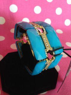 New Saks Fifth Avenue Blue Rhinestone Slip on Cuff 14k Gold Plated Bracelet   eBay