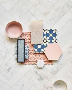 This achingly pretty flat-lay encompasses some of our loveliest tiles including porcelain Hayek Hex and gorgeous glazed terracotta . Mood Board Interior, Moodboard Interior Design, Interior Blogs, Interior Design Boards, 3d Modelle, Decoration Bedroom, Concept Board, Colour Schemes, Home Design