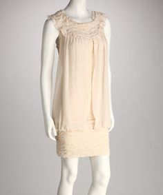 Another great find on #zulily! Beige Shirred Chiffon Panel Dress by Ryu #zulilyfinds