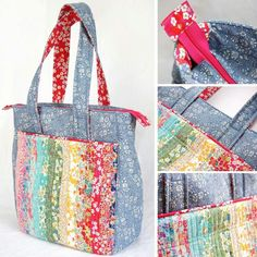 Supertote by Noodlehead in Liberty Duckadilly Quilted Tote Bags, Reusable Tote Bags, Bag Patterns To Sew, Sewing Patterns, My Sewing Room, Hobo Bags, Fabric Bags, Honduras, Pouches