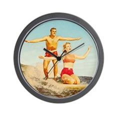 vintage surfers Wall Clock on CafePress.com
