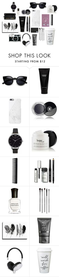 """""""Dandelion Black and White"""" by oh-buttons on Polyvore featuring interior, interiors, interior design, home, home decor, interior decorating, Witchery, Native Union, Chanel and Olivia Burton"""