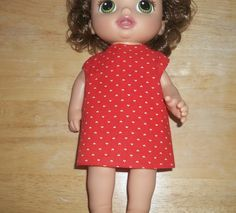 Baby 12 inch Alive doll handmade dress red with white hearts on it by sue18inchdollclothes on Etsy