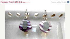 On Sale  Sea Glass and Shell Earrings  Gift Idea  by kitscreations