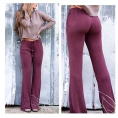 • Arriving Soon • Say goodbye to yoga pants and meet these gorgeous silky knit wine color bell bottoms! 60% cotton, 35% polyester, 5% spandex. Lace up draw strings with tassels. True to size. Model is 5'6 wearing size Small. High quality Australian brand.  PLEASE DO NOT PURCHASE THIS LISTING. Comment your size below and I'll make a new listing for you. POL Pants